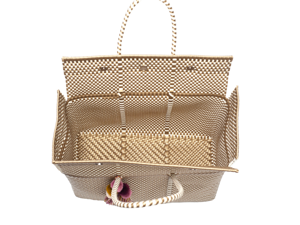 Load image into Gallery viewer, Bombon Tote Gold / Bone