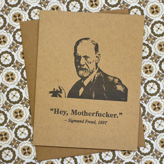 Hey, Motherfucker Sigmund Freud Card - Guttersnipe Press - AlwaysFits.com