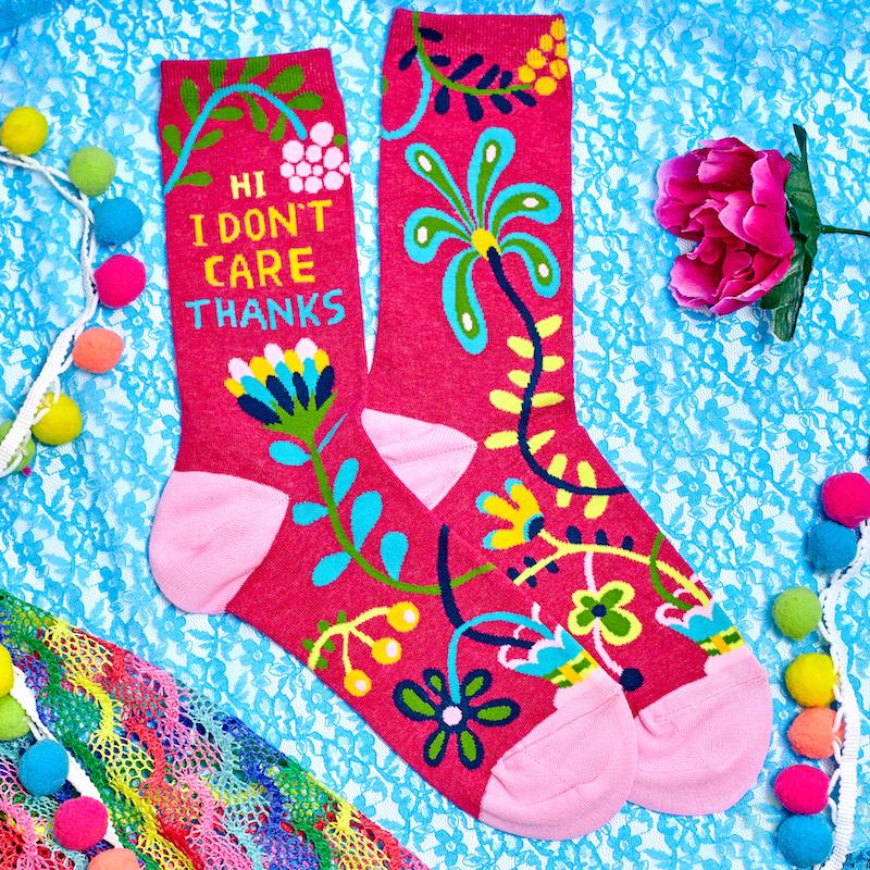 Hi I Don't Care Thanks Women's Crew Socks - Blue Q - AlwaysFits.com