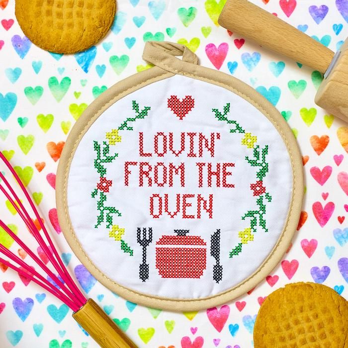 Lovin' From the Oven Cross Stitch Pot Holder