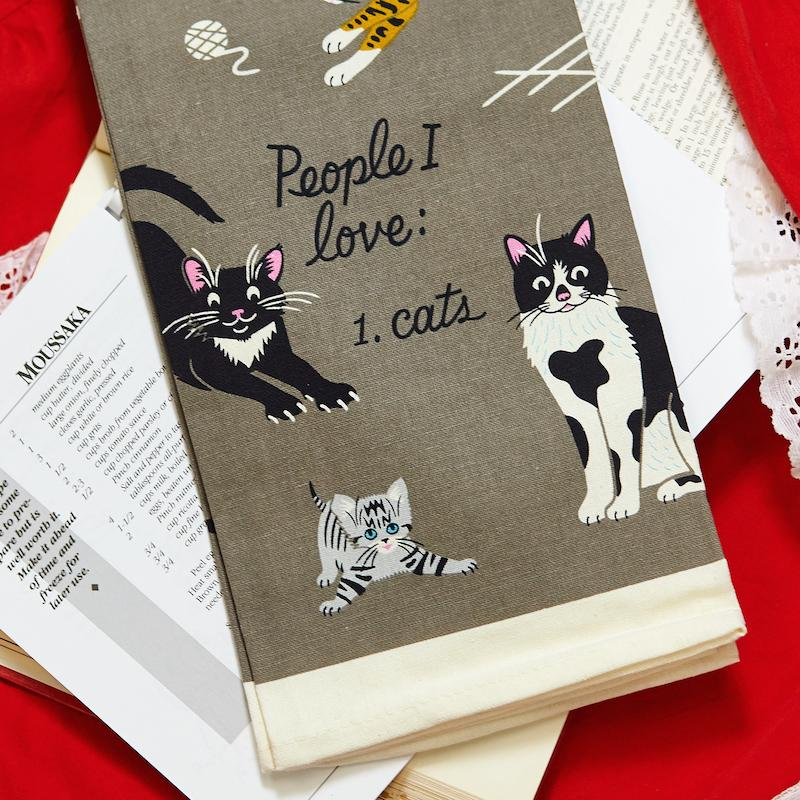 People I Love: Cats Dish Towel - Blue Q - AlwaysFits.com