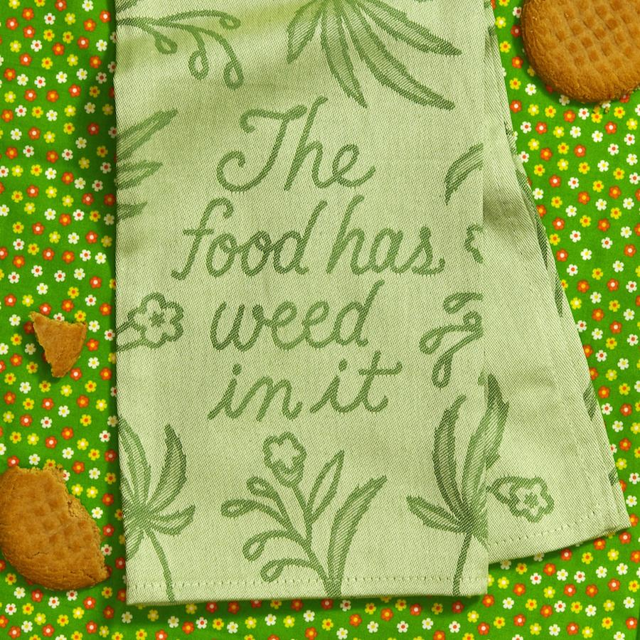 The Food Has Weed in It Woven Dish Towel - Blue Q - AlwaysFits.com