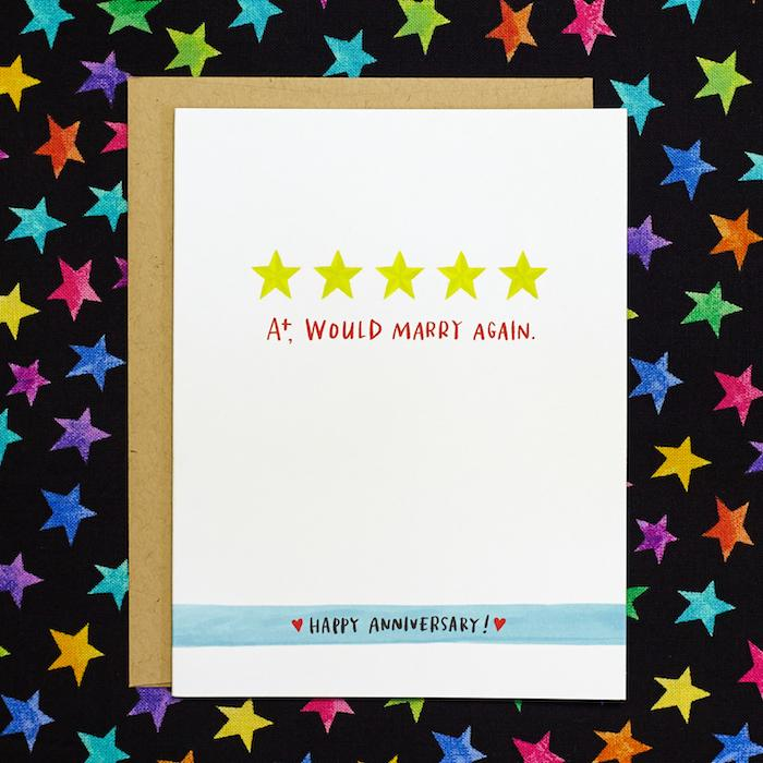 Five Stars Would Marry Again Anniversary Card