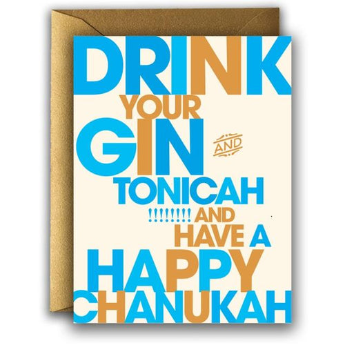 Drink Your Gin Tonicah and Have a Happy Chanukah Card