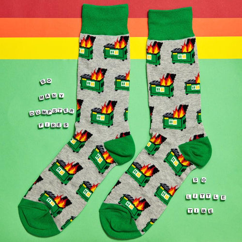 Dumpster Fire Men's Crew Socks - Socksmith - AlwaysFits.com