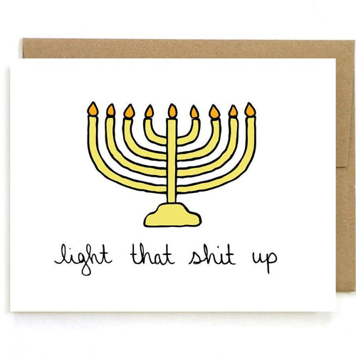 Light That Shit Up Hanukkah Card