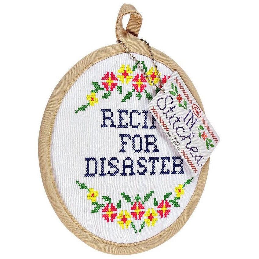 Recipe for Disaster Cross Stitch Pot Holder