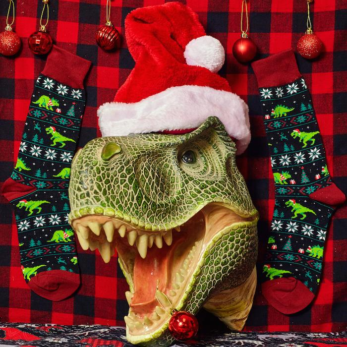 Santasaurus Rex Women's Crew Socks - Socksmith - AlwaysFits.com