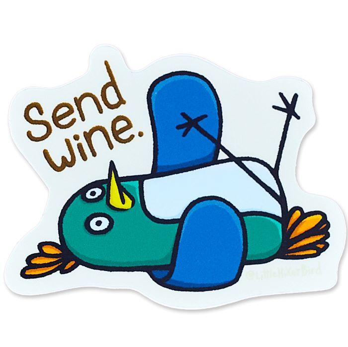 Send Wine Bird Vinyl Sticker