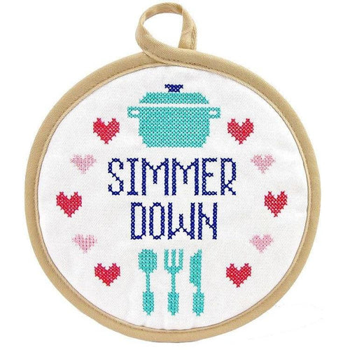 Simmer Down Cross Stitch Pot Holder