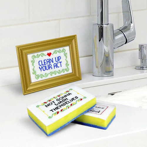Subversive Cross Stitch Sponges and Caddy Set - Fred & Friends - AlwaysFits.com