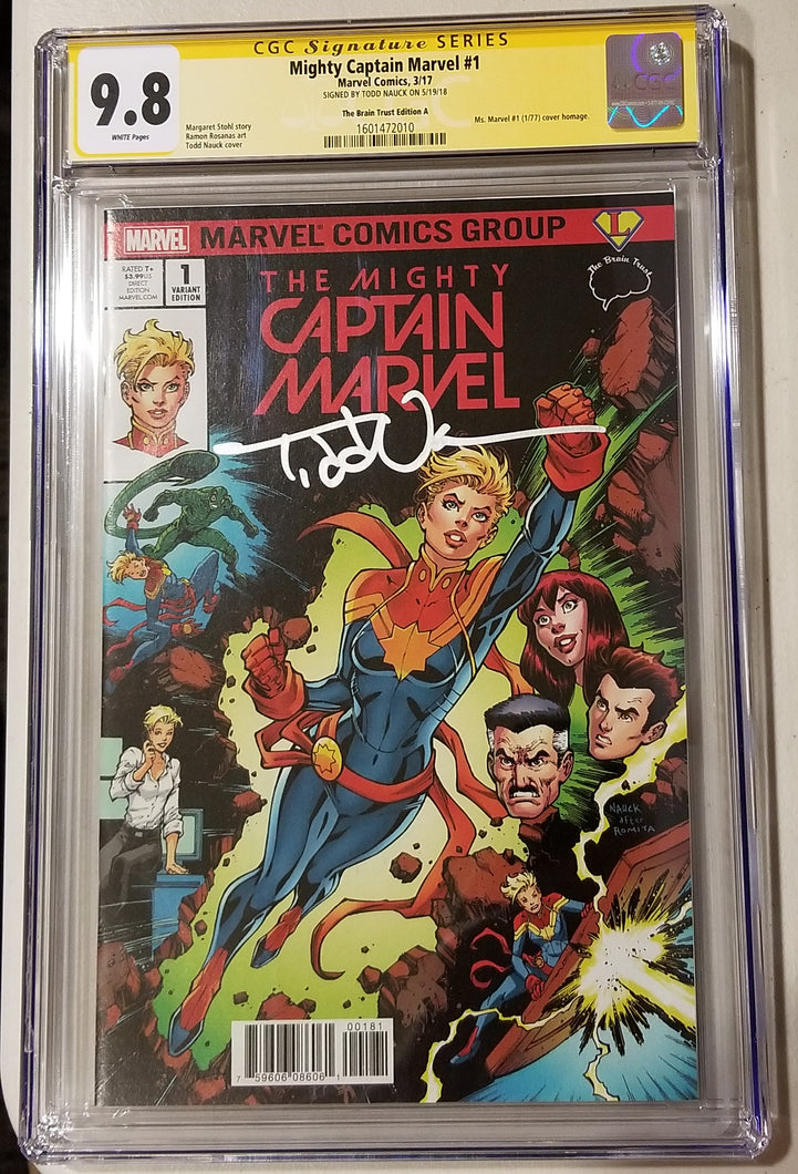 CGC SS 9.8 Mighty Captain Marvel #1 Cover A Todd Nauck/Legends Comics and Games/BT Variant