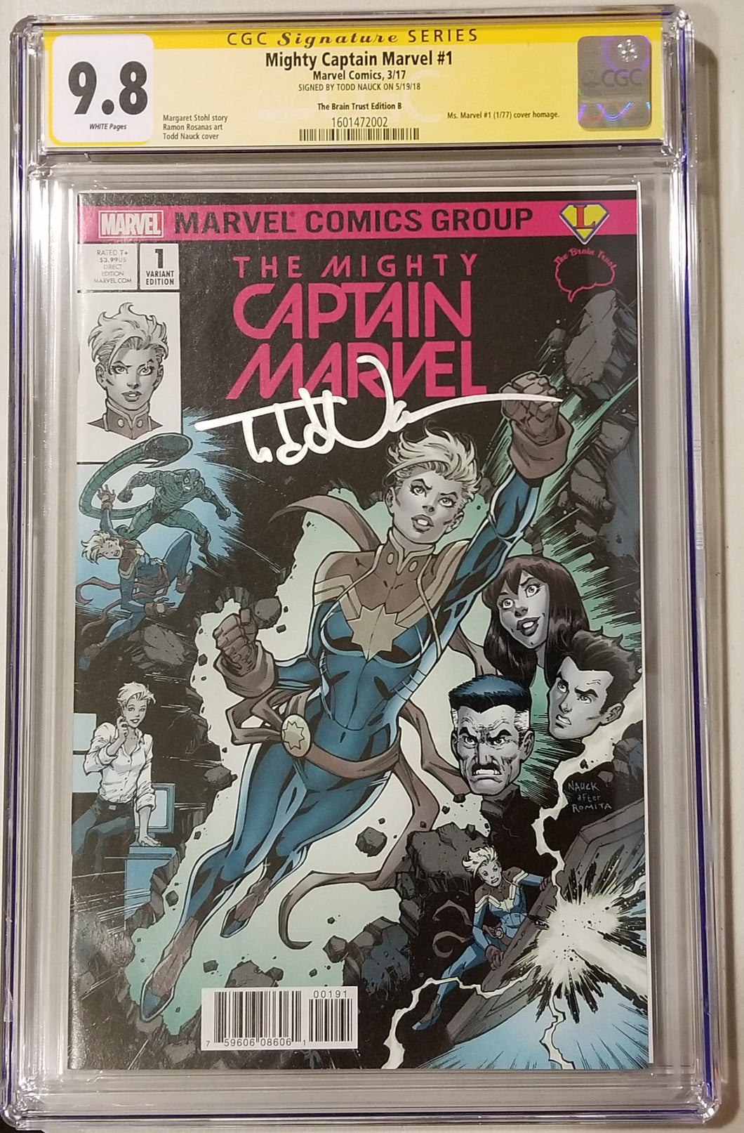 CGC SS 9.8 Mighty Captain Marvel #1 Cover B Todd Nauck/Legends Comics and Games/BT Variant