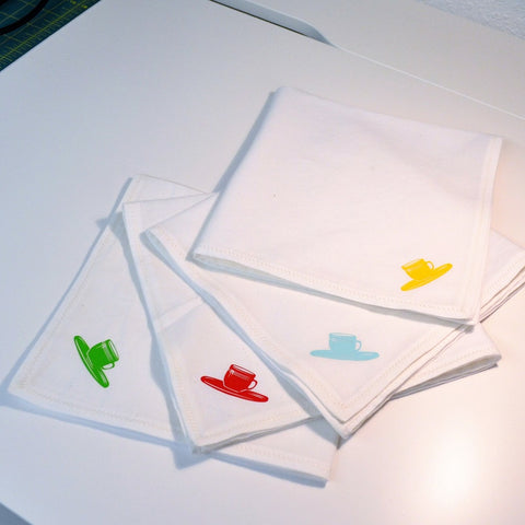 Photo of handmade cotton napkins with heat transfer vinyl