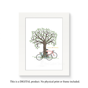 Vintage 10 Speeds Against a Tree - Digital Print Download - Instant Download