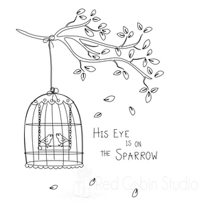 Birdcage Sketch SVG Digital Download - Single Line Sketch File - His Eye is on the Sparrow