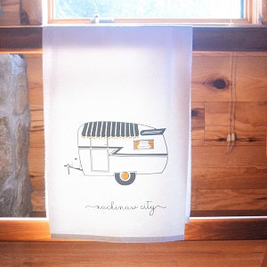 Gray and Yellow Camper Flour Sack Towel - 100 Percent Cotton Trailer Towel - Vintage Trailer - Handmade Dish Towel
