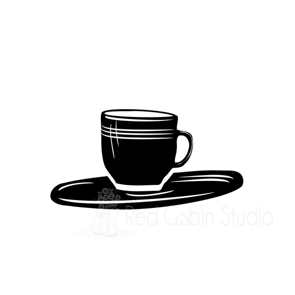 Cup and Saucer SVG Digital Download - Coffee Cup Cut File
