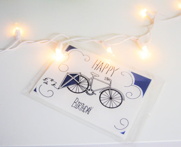 Handmade Greeting Card - Bike Birthday Card - Kite Birthday Card - Custom Birthday Card