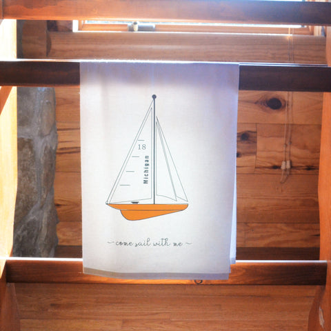 Sailboat Flour Sack Towel - 100 Percent Cotton Nautical Towel - Kitchen Towel - Handmade Dish Towel