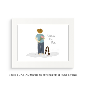 Boy with Basset Hound - Flowers for Mom - Digital Print Download - Digital Illustration