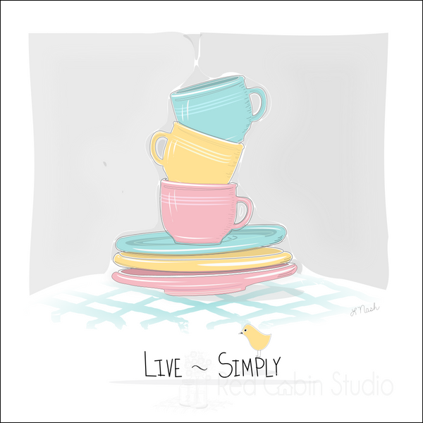 Cups and Saucers Digital Illustration - Live Simply - Digital Print