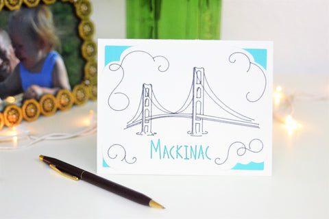 Mackinac Bridge Handmade Greeting Card - Michigan Card - Mackinac Card - Michigan