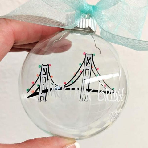 Mackinac Bridge Christmas Ornament - Michigan Ornament - Mackinac Bridge Christmas Gift - Michigan Theme Gift - Mackinaw Christmas