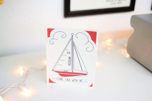 Handmade Greeting Card - Sailboat Card - Nautical Card - Nautical Gift Card