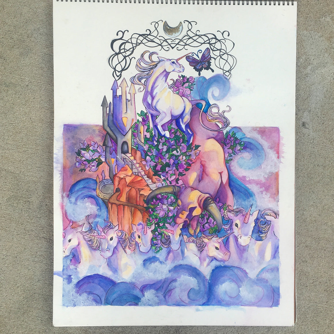 The Last Unicorn Illustration Original Watercolor Painting