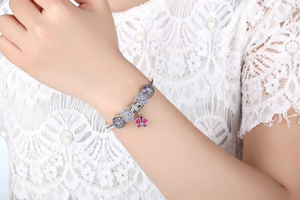 Butterfly Shiny Charm Bangle Bracelet