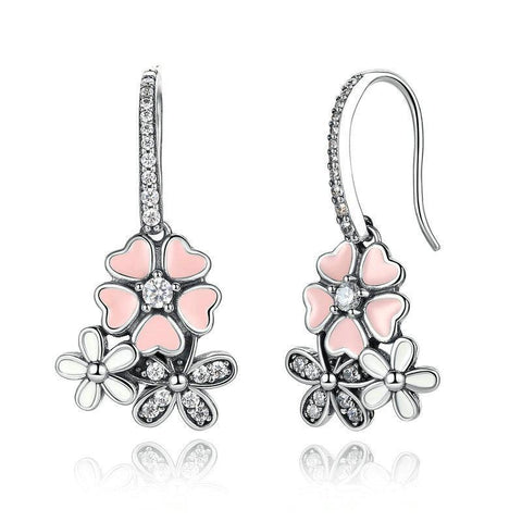 Daisy Cherry Blossom Drop Earrings