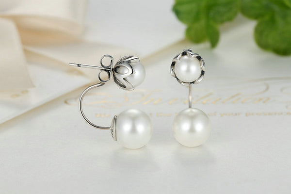 Two Pearls Drop Earrings