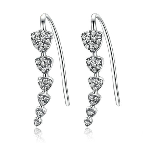 Triangle Heart Long Drop Earrings