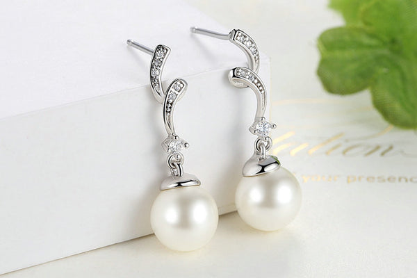 Pearl & Wave Drop Earrings
