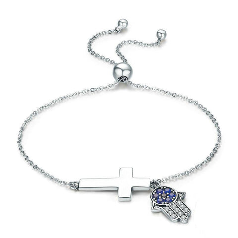 Hamsa Hand & Cross Power Chain Bracelet