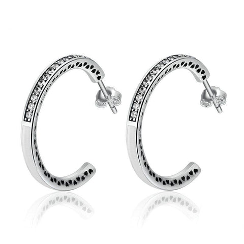 Radiant Hearts White Enamel Hoop Earrings