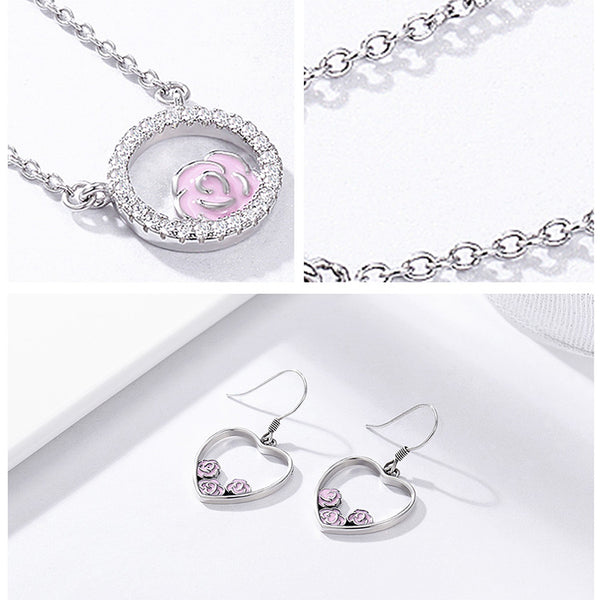 Romantic Pink Flower Jewelry Set