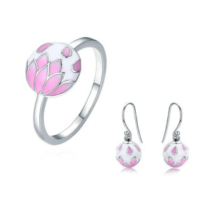 Pink Enamel Cherry Flower Jewelry Set