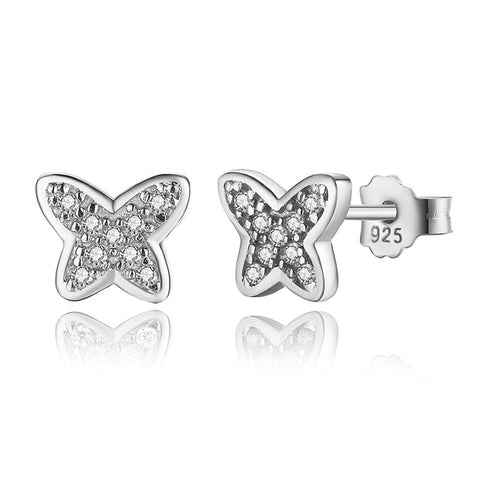Clear Butterfly Stud Earrings