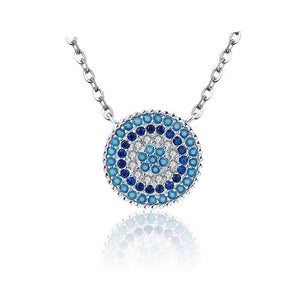 Round Blue Crystal Necklace