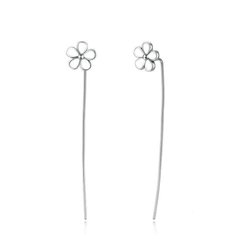 White Flower 5.5 CM Long Drop Earrings