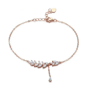 Rose Gold Tree Leaves Chain Bracelet