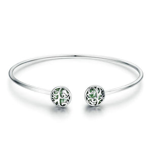 Tree of Life Green Crystal Cuff Bracelet