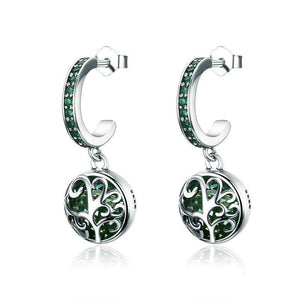 Green Crystal Tree of Life Tree Leaves Drop Earrings