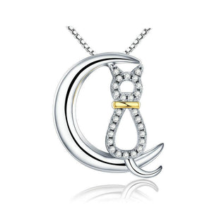 Moon & Cat Necklace