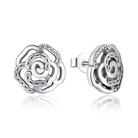 Silver Roses Earrings