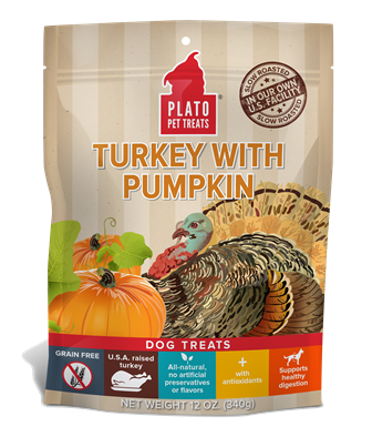 Plato Dog Treats - Turkey W/ Pumpkin (4 Oz. Variety)