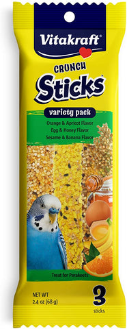 Vitakraft Parakeet Glazed Treat Stick Variety 3 pk