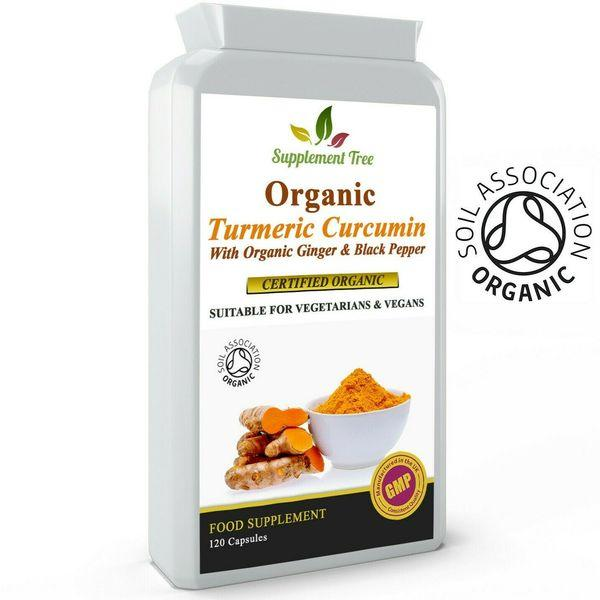 ORGANIC Turmeric Curcumin, Ginger and Black Pepper 120 Capsules - High Potency - Kateyspicks